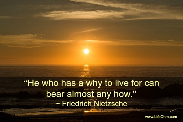 """He who has a why to live for can bear almost any how."" Nietzsche Quote"