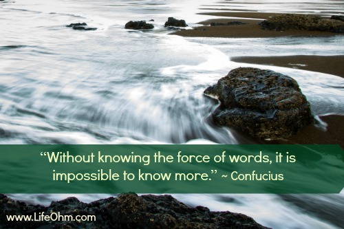 """Without knowing the force of words, it is impossible to know more."" Confucious"