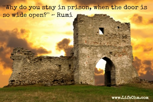 """Why do you stay in prison, when the door is so wide open?"" Rumi Quote"