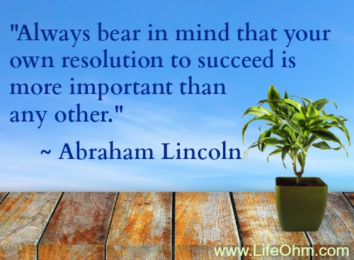 """Always bear in mind that your own resolution to succeed is more important than any other."" ~ Abraham Lincoln"